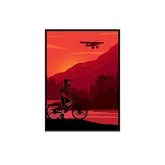 Mountainbiker op de zijhellingen