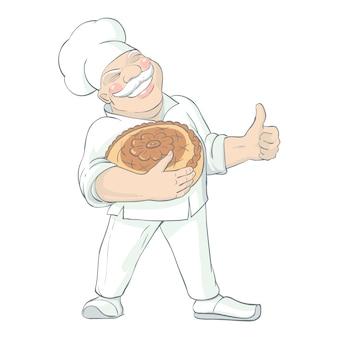 Moustached baker holding bread illustration
