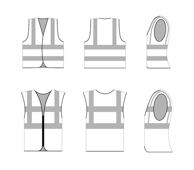 Mouwloze jas veiligheid uniforme overzicht platte grafische schets. beschermend vest of shirt met streepmodelontwerp, stoffen kleding lineaire trekking vectorillustratie geïsoleerd op een witte achtergrond