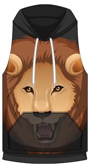 Mouwloze voorkant van hoodie met leeuwengezicht-patroon
