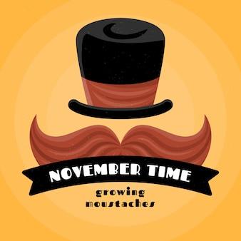 Movember-achtergrond in plat ontwerp