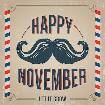 Movember achtergrond met vintage stijl