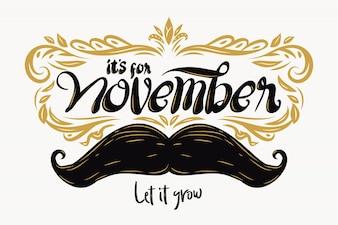 Movember-achtergrondsamenstelling met het van letters voorzien