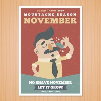Movember brochure sympathiek karakter met een snor