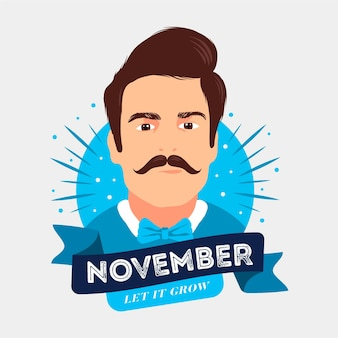 Movember-concept in plat ontwerp