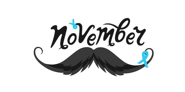 Movember handgetekende letters. snor snor met blauw lint. prostaatkanker.