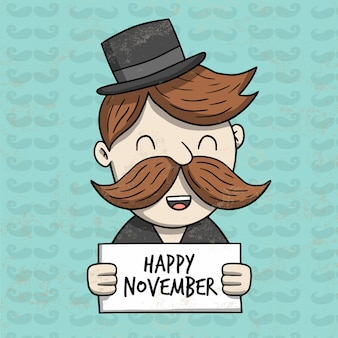 Movember ontwerp met gelukkig karakter