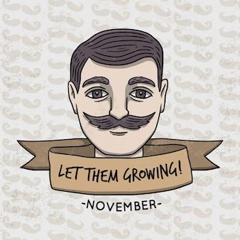 Movember ontwerp met gezicht