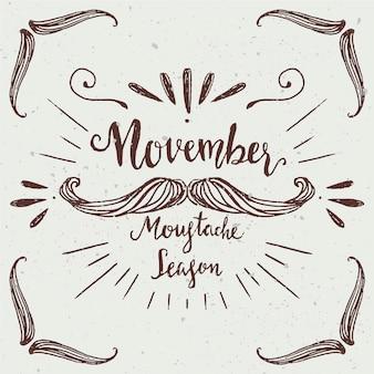 Movember ontwerp met hand getrokken snor