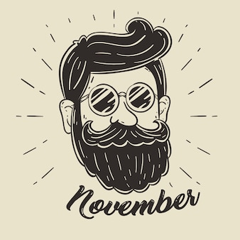 Movember ontwerpachtergrond met hipster baard