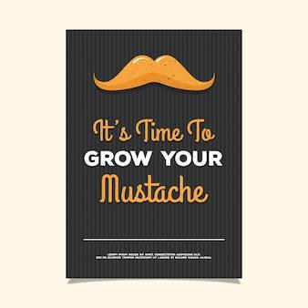 Movember partij poster met gestreepte achtergrond