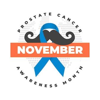 Movember snor bewustzijn achtergrond in platte ontwerp met lint