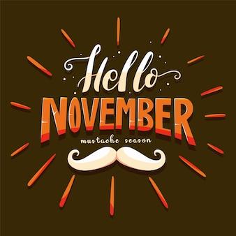 Movember snor bewustzijn achtergrond met belettering