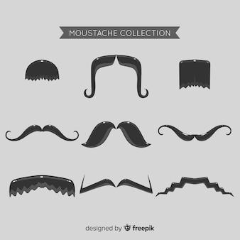 Movember snorcollectie in verschillende vormen in platte uitvoering