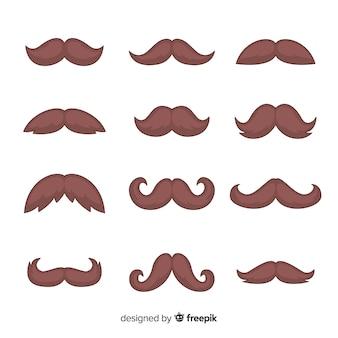 Movember snorpakverzameling in plat ontwerp