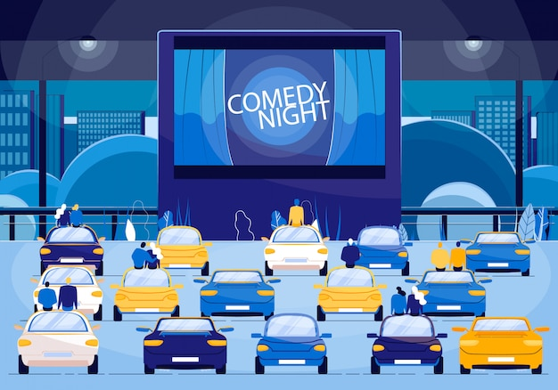 Movie comedy night, couples on romantic event