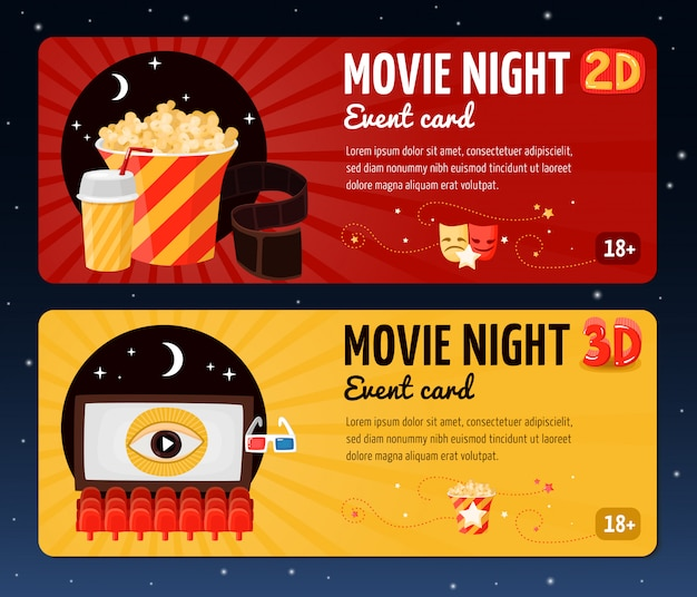 Movie night horizontal banners