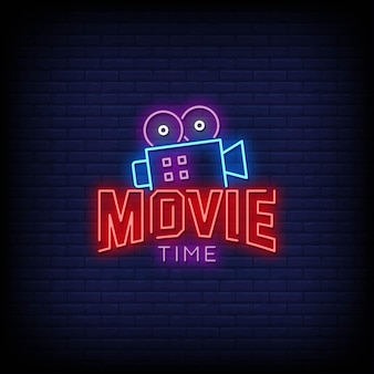 Movie time logo neon signs style text