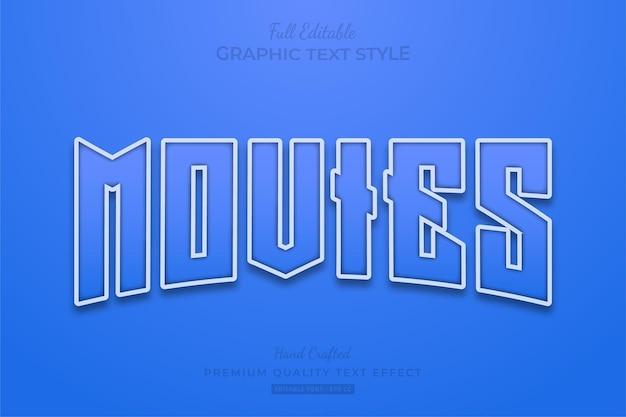 Movies blue bewerkbare teksteffect lettertypestijl