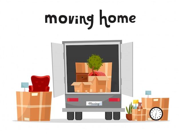 Moving truck with boxes. achterkant van de laadwagen. kartonnen dozen binnen en buiten het voertuig