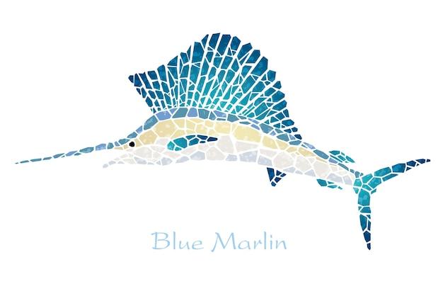 Mozaïek blauwe marlijn met tekstruimte