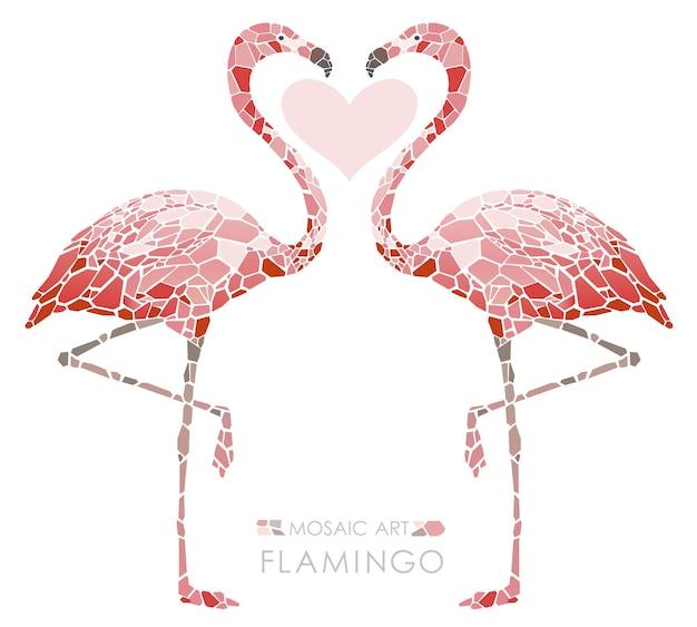 Mozaïek roze flamingo's