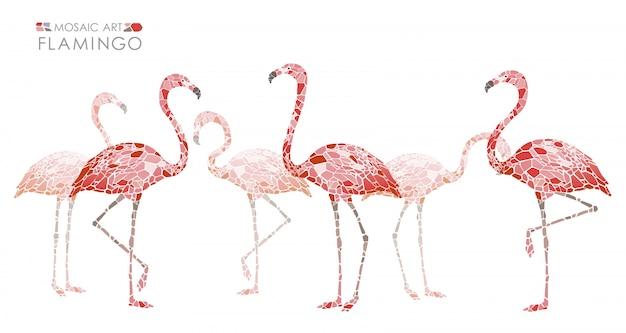 Mozaïek roze geïsoleerde flamingo's. vector illustratie.