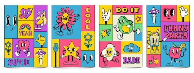 Mozaïek trendy posters met grappige gekke stripfiguren. complementaire doodle covers met retro komische gezichten en handen in handschoenen vector set. retro bloemen, sterren en limonade met gezichtsuitdrukkingen