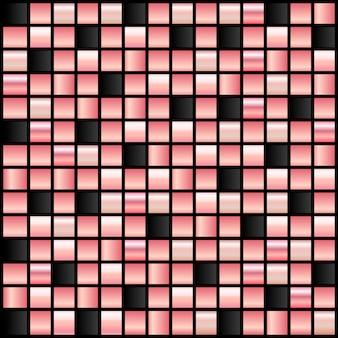 Mozaïekbehang in roségoud en zwart