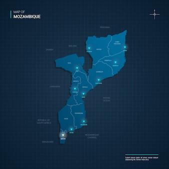 Mozambique kaart met blauwe neonlichtpunten