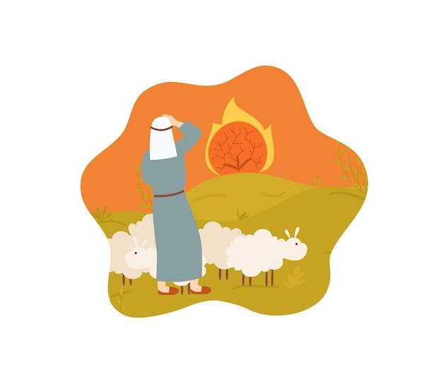 Mozes herder met brandende struik bijbelverhaal op wit