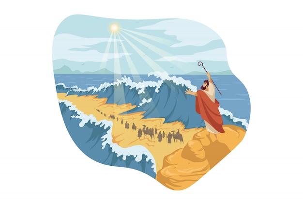 Mozes, scheiding van de rode zee, bijbelconcept
