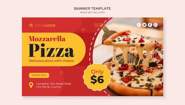 Mozzarella pizza eten sjabloon voor spandoek