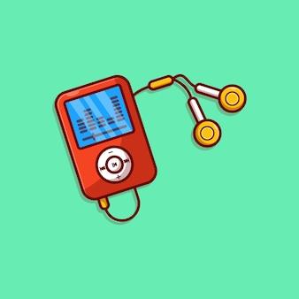 Mp3-speler vector illustratie ontwerp met oortelefoon