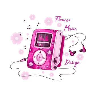 Mp3-speler voor muziek met felroze bloemdessin en hoofdtelefoon.