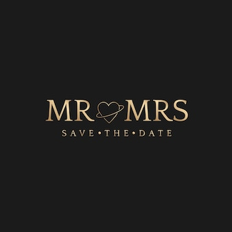 Mr en mrs badge bruiloft bewaar de datum gouden luxe stijl