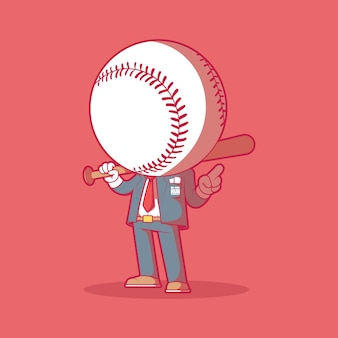Mr. home run illustratie. honkbal, sport, mascotte ontwerpconcept.