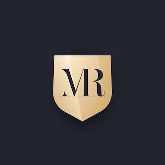 Mr monogram met schild, vector logo