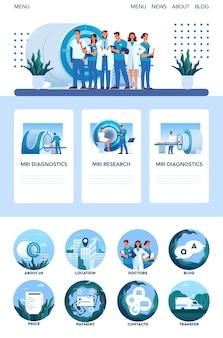 Mri-kliniekwebsite of mobiel app-concept. medisch onderzoek en diagnose. moderne tomografische scanner. gezondheidszorg concept. webbanner en pictogrammen.