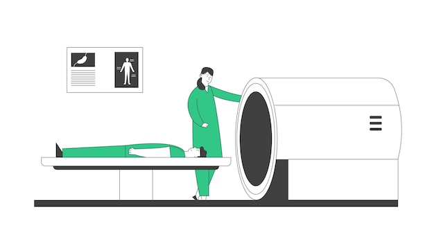 Mri-scanner in het ziekenhuis. magnetische resonantiebeeldvorming digitale technologie in het diagnostische concept van de geneeskunde. medische gezondheidszorg, arts en patiënt in de kliniek.