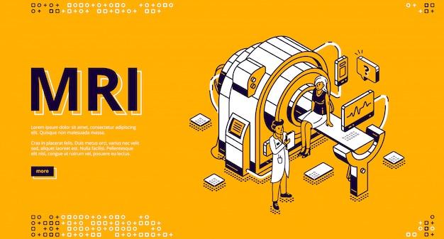 Mri-scanner met patiënt en arts webbanner