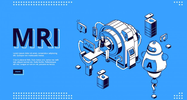 Mri-scanner met patiënt en arts webdesign