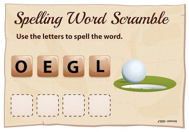 Mspelling woord scramble game sjabloon met gat