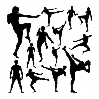 Muay thai martial art silhouetten