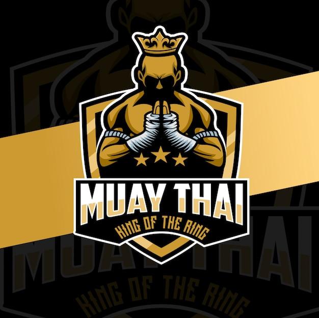 Muay thai mascotte logo ontwerp karakter