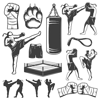 Muay thai monochrome elements