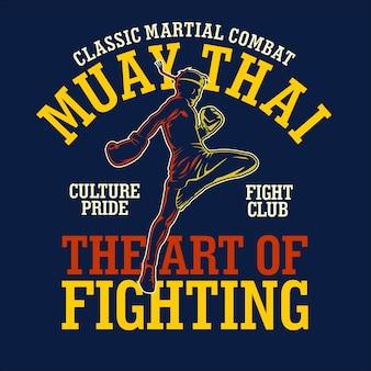 Muay thai t-shirt illustratie in plat ontwerp
