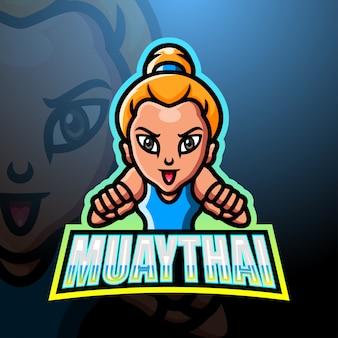 Muaythai mascotte esport logo ontwerp