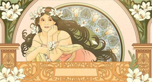 Mucha-stijl godin met fresia en leunend op een prachtig balkon Premium Vector