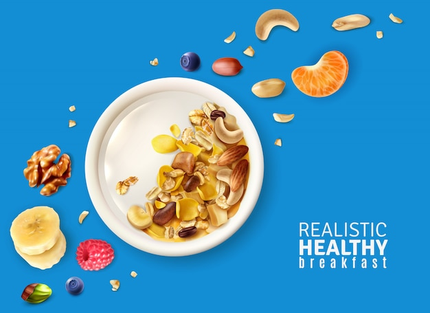 Muesli gezond ontbijtbord bovenaanzicht realistische samenstelling met banaan mandarijn noten bessen kleur